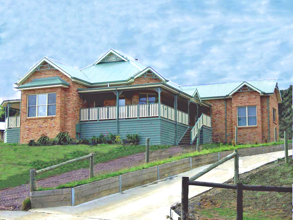 Country style brick veneer home designed for country views built by Farm Houses of Australia