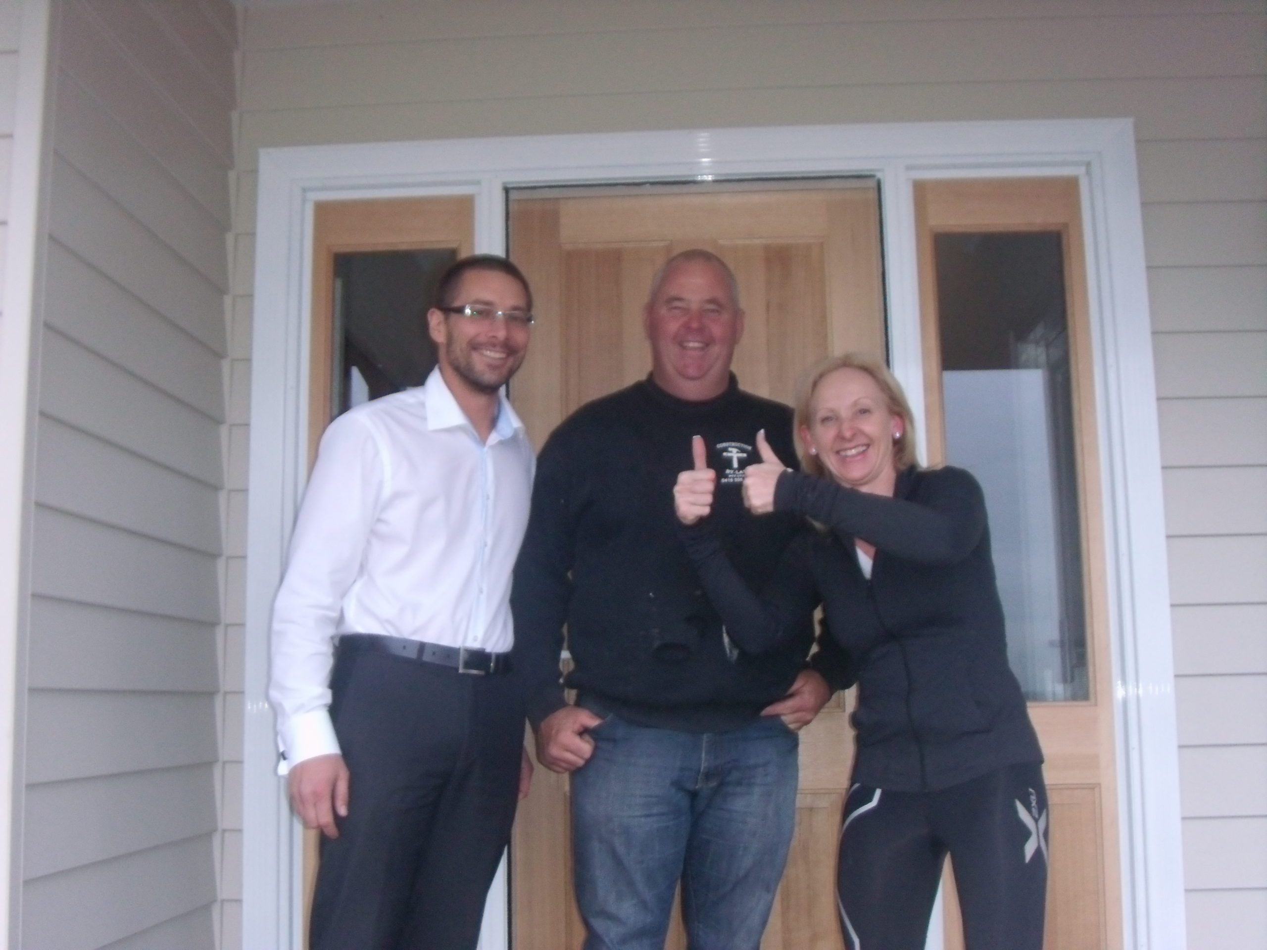 Hershey Heights - Ryan and Sharon with Doug the builder built by Farm Houses of Australia