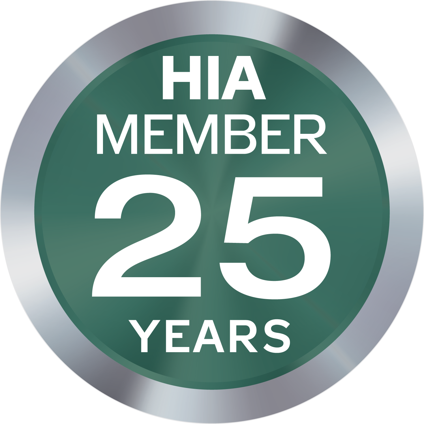 HIA Member Logo 25 years - green circle with silver border and large number 25 in the middle with words HIA Member above and Years below the 25